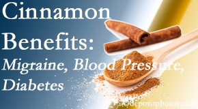 The Novelli Wellness Center shares research on the benefits of cinnamon for migraine, diabetes and blood pressure.
