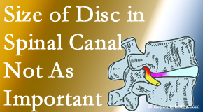 The Novelli Wellness Center reports on new research that again states that the size of a disc herniation doesn't matter that much.