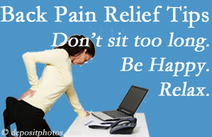 The Novelli Wellness Center reminds you to not sit too long to keep back pain at bay!
