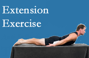The Novelli Wellness Center recommends extensor strengthening exercises when back pain patients are ready for them.
